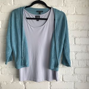 Eileen Fisher turquoise blue linen sweater Small